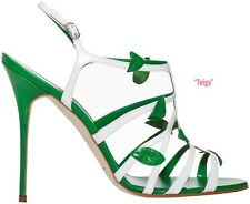 $935 New Manolo Blahnik TWIGA 90 Green White Strappy Sandals Shoes 35 39.5