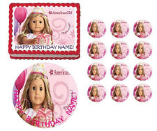 American Girl Doll Blond Hair Birthday Edible Cake Topper Image - All Sizes