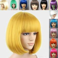 Colorful Women Sexy Thick Bangs BOBO Straight Short Full Wigs Cosplay Party Hot