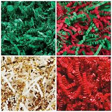 Crinkle Cut Paper Shred- Gift Basket Red, Green, Gold Holiday Mix, Color Fill