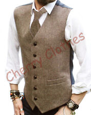 MENS WOOL BLEND TWEED BROWN BEIGE HERRINGBONE  WAISTCOAT VEST  M L XL XXL