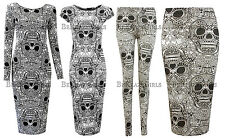 New Womens Ladies Skeleton Skull Bones Print Midi Leggings Skirts Casual Celeb