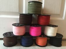 Faux Suede Cord. Various Colours. 1m or 5m lengths. 3mm x 1.5mm wide (SM06)
