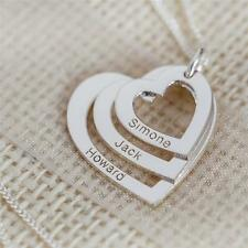 SOLID 9K WHITE GOLD PERSONALISED TRIPLE HEART PENDANT MOTHERS FAMILY NECKLACE