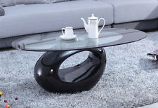 Designer Glass Oval Coffee Table Contemporary Style Furniture Black White Red