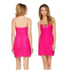 New Lilly Pulitzer S or M Dellaria Strappy Dress Magenta Paisley Drop Knit Lace