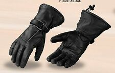 MOTORCYCLE MEN'S RIDING GLOVES WATERPROOF COW LEATHER GAUNTLET SOFT LEATHER NEW
