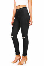 Vibrant New Womens Faded Black High Waist Rise Skinny Jeans High Waisted Pants