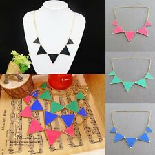 4Colors Geometric Black Enamel Triangle Pendant Bib Collar Choker Necklace Hot
