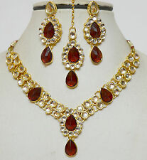 Designer Indian Gold Plated Studded Stones Kundan Necklace Party Jewellery Set