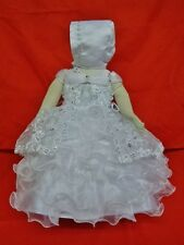 Little Girl's Christening/Baptism Dress White Bonnet Virgin Mary Sizes 00-4 SALE