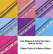 Neotrims Polka Dot Woven Fabric Materail & Decorative Folk Ribbon Combo Set