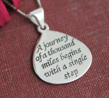 "925 Sterling Silver ""A journey of a thousand miles"" pendant & necklace"