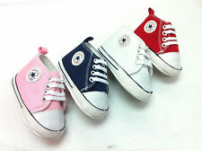 BABY ALL STAR SHOES PINK/WHITE 0-6, 6-12, 12-18 MONTHS SIZE 2,3,4 LIKE CONVERSE