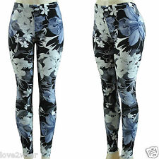 NEW Ladies Black Floral Printed Leggings Good Quality Warm Stretchy Fabric Size