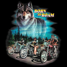 Born To Roam Wolf Motorcycle Chopper Biker T-Shirt Tee