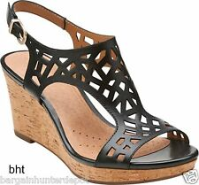 New Clarks Womens Palmdale Sands Wedge Slingback Sandal Black Leather 26107111