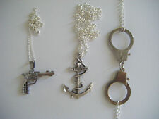 NEW PISTOL GUN ANCHOR HANDCUFF MINI NECKLACE METAL ROCK TATTOO KITSCH