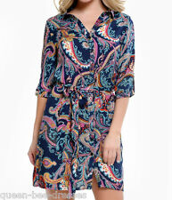 Shirt Dress In Blue Multi paisley Print s/m 8-10 m/l 12 New S/S By John Zack