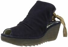 Fly london Yame Navy Womens Oil Suede Wedge Sandals Shoes