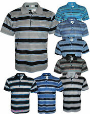Men's Striped T-Shirts Regular Fit Pique Polo PolyCotton Tops Casual Shirt M-3XL