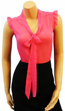 New Retro Hot Pink Sheer Crepe chiffon Vtg style Pussy Bow Office Work  Blouse