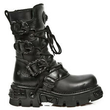 New Rock Skull Buckle Leather Platform Boots - Black - 391-S18 - Gothic,Goth,Pun
