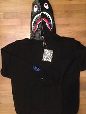Brand New AAPE Bape A Bathing Ape Hoodies with shark in Black