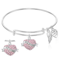 BIG SISTER LITTLE SISTER Expandable Wire Bangle Bracelet Pink GIFT BOXED