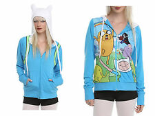 NEW Adventure Time Finn Reversible Cosplay Zip Up Hoodie  Costume Sweatshirt