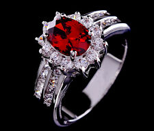 Sz6-10 Charming Red Ruby Women's14KT White Gold Filled Shining Engagement Ring