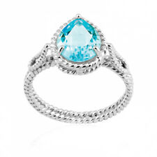 Sterling Silver 925 Pear Shaped Blue Topaz Gemstone Ring Sizes 6,7,8 and 9