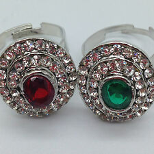 Brand New Red /Green Rhinestone Ring Adjustable Ideal Gift Beautiful Silver Ring