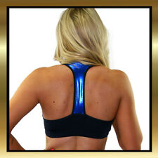 Juicee Peach Black Lycra & Blue Wet Look Sports Bra Top