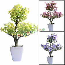 Artificial 14'' Begonia Crabapple Bonsai Tree Plant Topiary IN/Outdoor Plant New