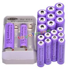 10x AAA 1800mAh +10x AA 3000mAh 1.2V Rechargeable Ni-MH Battery Pruple +Charger