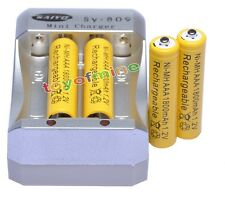 4 AAA 1800mAh 1.2V Ni-MH Rechargeable Battery Yellow for MP3 RC Toys +Charger