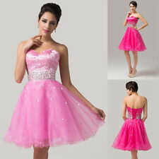 SHORT Strapless Organza Quinceanera Wedding Cocktail Evening Prom Party Dresses