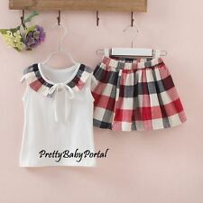 NEW GIRLS Baby Toddler Clothes White Tank Top+Plaid Skirt
