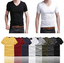 Worth-while Men Slim Fit V-neck/Crew Neck T-shirt Short Sleeve Muscle Tee JBCA
