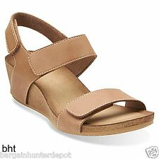 New Clarks Womens Alto Madi Mid Heel Wedge Sandals Beige Leather Casual 26105187