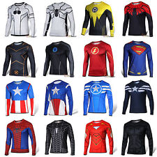 Men Casual Superhero Compression Jogging Cycling Sports GYM Jersey T-Shirts Gear