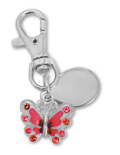 ladies butterfly keyring engraved / personalised with velvet gift pouch - PL49