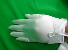 New Girls Wrist Length Stretchy Satin Glove>White>Communion/ Baptism/Bridal/Prom