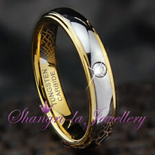 WOMENS TUNGSTEN CARBIDE GOLD GF WEDDING BAND RING SWAROVSKI DIAMOND JS046 NEW