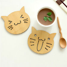 Wooden Smile Cat Face Bread Toast Drinks Cup Insulation Mat Pad Coaster Home