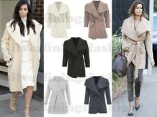 New Womens Kim Kardashian Inspired Knee Length Waterfall Belted Coat Jacket 8-14