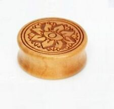 PAIR of Wood Organic Saddle Plugs with Carved Lotus Flower 10mm-28mm