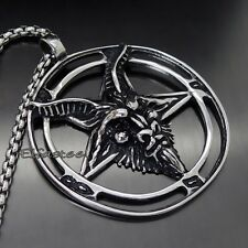 Large Inverted Pentacle Pentagram Satanic  316L Stainless Steel Wiccan Pendant