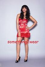 DRAMA QUEEN RUFFLE HEM CAMI DRESS RED  UK 14 RRP £75.00 REDUCED TO CLEAR